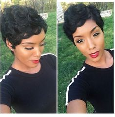 Long pixie hairstyles are a beautiful way to wear short hair. Many celebrities are now sporting this trend, as the perfect pixie look can be glamorous, elegant Curly Pixie Haircuts, Cute Hairstyles For Short Hair, My Hairstyle, Pixie Hairstyles, Black Women Hairstyles, Short Hair Cuts, Curly Hair Styles, Natural Hair Styles, Short Pixie