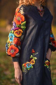 Denim robe dété robe brodé robe longues robe de vacances robe   Etsy