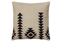 bringing black in - Southwest 18x18 Jute Pillow, Ivory on OneKingsLane.com