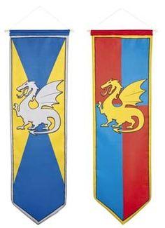 Vaandels voor een Middeleeuws ridder feestje