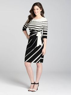 Laura | Semi-Wrap Striped Dress - Black & White