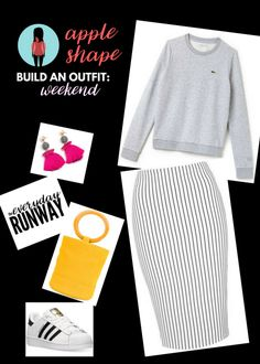 Apple Shape Ladies: Try this fun & casual outfit for the weekends.