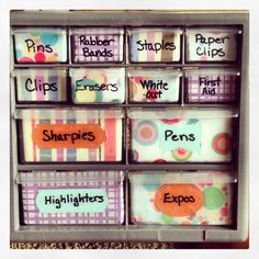 Get some small storage bins cheaply, decorate them, and then stack them! saves room and space on a desk!