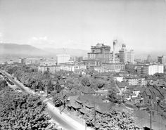Looking northeast over downtown West End Vancouver from the Baptist Church at Burrard and Nelson, around 1926, with the courthouse, Hotel Vancouver and the Vancouver Block.