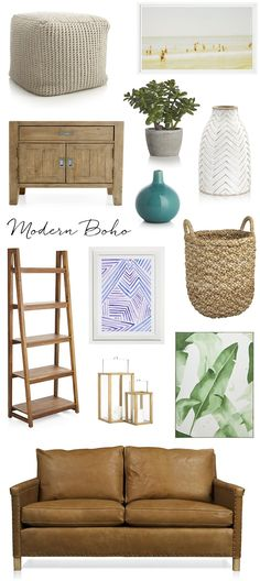 Modern Boho with a California cool feel // interior design style with Crate and Barrel