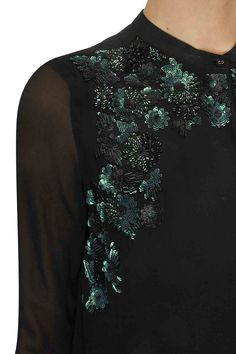 Black japanese flowers sequins embroidered tunic available only at Pernia's Pop Up Shop.