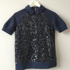 kate spade sequin sweater kate spade navy sequin sweater with collar - never worn kate spade Tops
