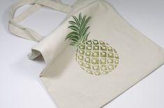 IZINK Diamond Vert & Or & Pochoir Ananas Tote Bag, Diamond, Tableware, Bags, Stencil, Pineapple, Green, Pattern, Handbags