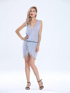 Sexy Deep V Neck Tassel Irregular Hem Sleeveless Tunic Women Mini Dress - Gchoic.com #Dresses #Women #Fashion #Latest
