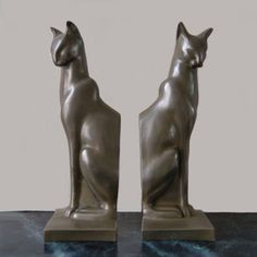 Cat Art Deco bookends
