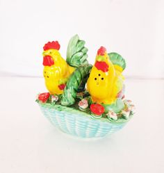 Vintage Chicken Salt and Pepper Shakers in a Basket Hen and Rooster Salt and Pepper Shaker 3 Piece Set Kitsch Country Decor Unique Gift