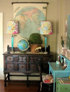Globe decor - love this. One day I want to have my office be a memoir of my travels. The thought is it will inspire me to work harder to travel more!