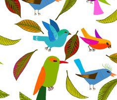 oiseau du paradis XL fabric by nadja_petremand on Spoonflower - custom fabric