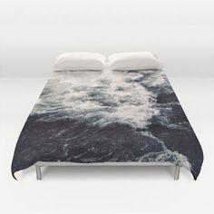 Duvet Cover, Ocean Beach Waves Nautical Bedding Cover, Coastal Surf Decorative Bedroom Decor, Home Decor, King, Queen, Full