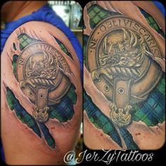 Clan Campbell crest and tartan tattoo Shane Tattoo, Tattoo You, Arm Tattoo, Body Art Tattoos, Cool Tattoos, Small Celtic Tattoos, Family Crest Tattoo, Scottish Tattoos, Campbell Clan