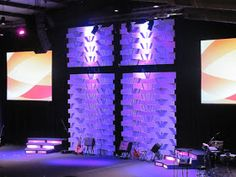 The stage in our new sanctuary measured 60'x26'. The ceilings from stage floor measured 26' at it's highest point. It was a challenge to com...