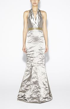 Techno Metal Halter Gown - Dresses