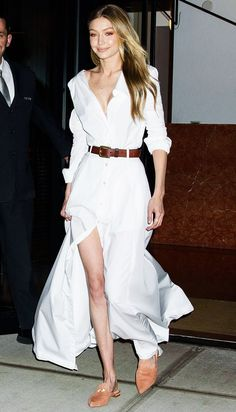 Gigi Hadid in a white shirt dress and mules by Stuart Weitzman Shirtdress Outfit, Dress Outfits, Dresses, Belted Dress, The Dress, Estilo Gigi Hadid, Denim Jacket With Dress, Outfits Mujer, Camisa Formal
