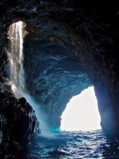 Sea Cave Waterfall in Kauai, Hawaii