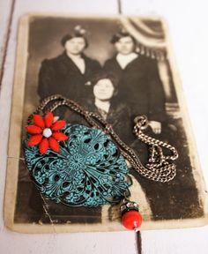 Poppy Orange vintage charm necklace by DejaVuVintageJewelry