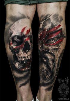 Tattoo Evgeniy Ignatov - tattoo's photo In the style Trash polka, Skul Creepy Tattoos, Badass Tattoos, Skull Tattoos, Leg Tattoos, Body Art Tattoos, Cool Tattoos, Wolf Tattoo Sleeve, Calf Tattoo, Sleeve Tattoos