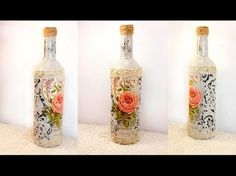 How to Decoupage and Ornament Glass Bottle - Upcycling Project -- #4 - YouTube