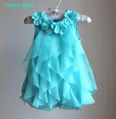 Humor oso niñas fiesta de cumpleaños bebé de la muchacha de flores mameluco infantil se visten los niños lindos de vestidos de ropa bebé