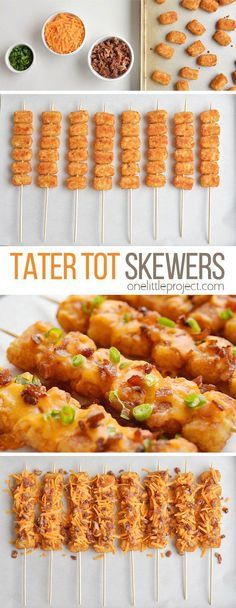 These loaded tater tot skewers are so delicious and they& really easy to m. - - These loaded tater tot skewers are so delicious and they& really easy to make! This is such an easy appetizer recipe. It& great for game da. Skewer Recipes, Easy Appetizer Recipes, Yummy Appetizers, Easy Healthy Recipes, Healthy Food, Easy Appetizers For Party, Christmas Appetizers, Dinner Healthy, Appetizer Skewers
