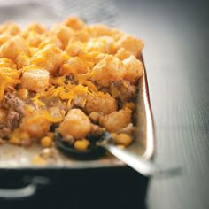 Cowboy Casserole (Stovetop and Oven): 1/2 lb ground beef, 8 3/4 oz can drained whole kernel corn, 2/3 cup condensed cream of chicken soup, 1/2 cup shredded cheese, 1/3 cup milk, 2 T sour cream, 3/4 t onion powder, 1/4 t pepper and 2 cups frozen tater tots.