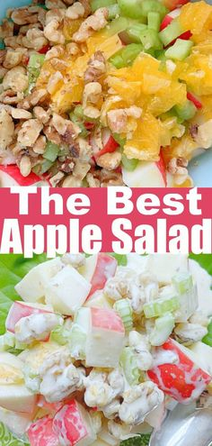This Apple Salad makes a delicious side dish for your holiday celebrations. | Foodtastic Mom #applesalad Easy Easter Recipes, Easy Thanksgiving Recipes, Grilling Recipes, Slow Cooker Recipes, Cooking Recipes, Desert Salads, Perfect Deviled Eggs, Apple Salad, Best Side Dishes