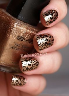 Gold and Black Leopard Print Nails