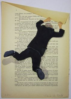 $10 Hanging man- ORIGINAL ARTWORK Hand Painted Mixed Media on 1920 famous Parisien Magazine 'La Petit Illustration' by Coco De Paris