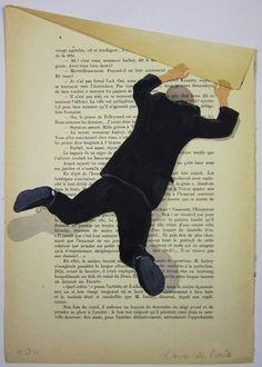 $10 Hanging man- ORIGINAL ARTWORK Hand Painted Mixed Media on 1920 famous Parisien Magazine 'La Petit Illustration' by Coco De Paris