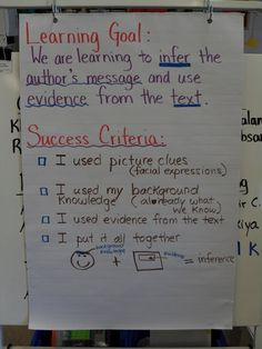 Success Criteria Demonstration Classroom Sharing: Using Images to Infer Comprehension Strategies, Teaching Strategies, Teaching Reading, Reading Comprehension, Teaching Resources, Teaching Ideas, Learning Targets, Learning Goals, Learning Objectives