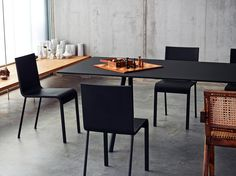 Puristic designs like the A-Table brought Maarten Van Severen to fame: products with a symbolic aesthetic and carefully balanced proportions have become his tra Dining Table Chairs, Wood Table, Room Chairs, A Table, Dining Rooms, Danish Design Store, Bench Furniture, Chairs For Sale, Interiores Design