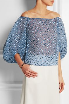 Vika Gazinskaya | Off-the-shoulder printed silk-blend chiffon top | NET-A-PORTER.COM