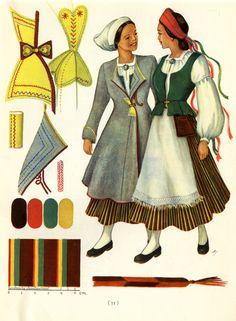 Crane River women's dresses  taken from Suomalaisia Kansallispukaja [Finnish National Costume] by Tyyni Vahter, illustrations by Greta Strandberg and Alli Touri
