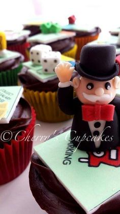 Mnopoly Theme Cupcakes Get more #fundraising ideas at www.muradauctions.com.