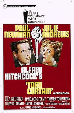 Torn Curtain    film poster by Howard Terpning  Directed byAlfred Hitchcock  Produced byAlfred Hitchcock  Written byBrian Moore  Willis Hall  Keith Waterhouse  StarringPaul Newman  Julie Andrews  Lila Kedrova  Hansjörg Felmy  Tamara Toumanova  David Opatoshu  Ludwig Donath  Music byJohn Addison  CinematographyJohn F. Warren  Editing byBud Hoffman  Distributed byUniversal Pictures  Release date(s)July 14, 1966