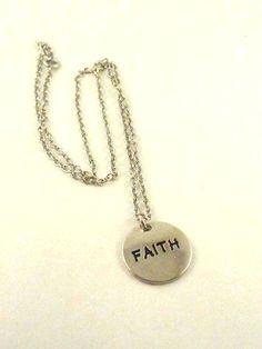 Inspiracional Necklace Faith Charm Pendant  by ToppyToppyKnits