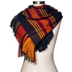 Women's Blanket Scarf Navy (Blue) Plaid - Merona