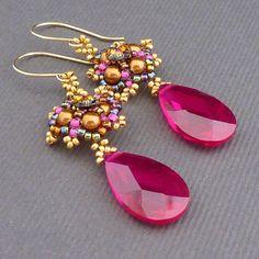 Victorian Lace Beaded Earrings PDF Tutorial Pattern. #beadwork