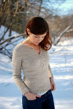 Ravelry: Cabled Leaf Pullover pattern by Alana Dakos