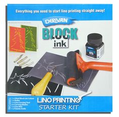 Derivan Lino Printing Starter Set;  Contains;        1 x Rubber Roller      Small lino tile      Lino Carving tool set      50ml Dervian lino block printing ink      1 x plastic knife  http://arthousebroome.com.au/on-line-store/art-supplies/drawing-and-inks/Printmaking/derivan-lino-printing-starter-kit  $26.95
