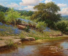 Bluebonnet realistic landscape oil painting titled Spring Perfection by William Hagerman copyright 2013