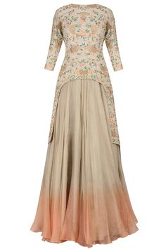 Beige cut out floral embroidered kurta and flared skirt set available only at Pernia's Pop Up Shop.