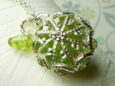 Worry Locket  peridot gemstones in star filigree by GhostShip, $25.00