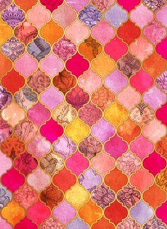 Couleurs chaudes | Motifs | Hot Pink, Gold, Tangerine & Taupe Decorative Moroccan Tile Pattern Art Print