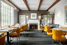#tbd to when we helped our friends @restaurant_serenade renovate and bring some new life to their existing space!! #restaurantserenade #restaurantdesign #studio1200 #interiordesign #architecture #interiordesigner #architect #designstudio #spaceplanning #njdesign #yellowchairs #fireplace #dining