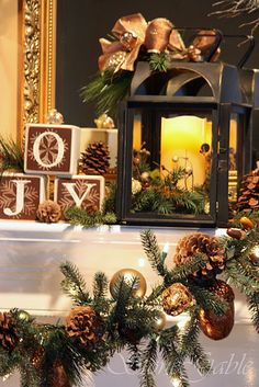Cute Christmas mantle, but my OCD is literally screaming to switch the J and the O. Oh, the insanity!
